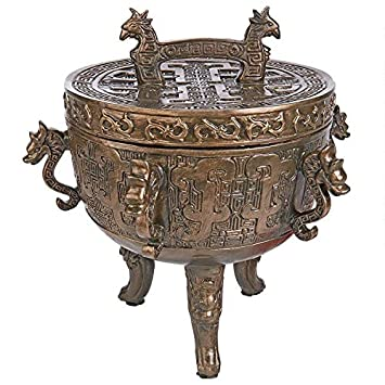 Design Toscano Dragon Temple Faux Incense Sensor Urn, Bronze