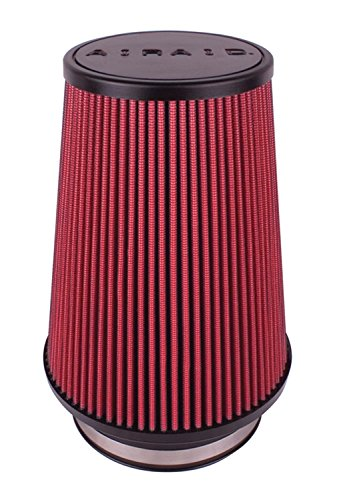 Airaid 700-496 Universal Clamp-On Air Filter: Round Tapered; 5 in (127 mm) Flange ID; 9 in (229 mm) Height; 7.25 in (184 mm) Base; 5 in (127 mm) Top