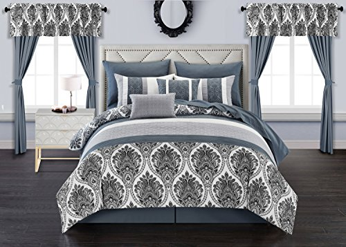 (Chic Home Finnick 20 Piece Comforter Set Medallion Quilted Embroidered Design Complete Bed in a Bag Bedding - Sheets Decorative Pillows Shams Window Treatments Curtains Included, Queen Grey)