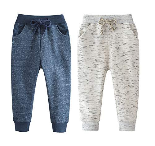 Qin.Orianna Little Boys Cartoon Pattern Cotton Drawstring Elastic Sweatpants Sport Jogger Pants with Pocket(2 Pack) (4T, Navy+Gray)