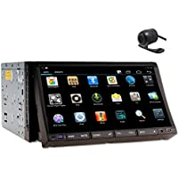 In Dash Car Stereo Double Din android 4.2 7 Inch HD Touch Screen Car DVD CD Player AM/FM Radio Steering Wheel Control GPS Navigation Support 3G Built-in WiFi Bluetooth AUX 1080P USB/SD Rear Camera