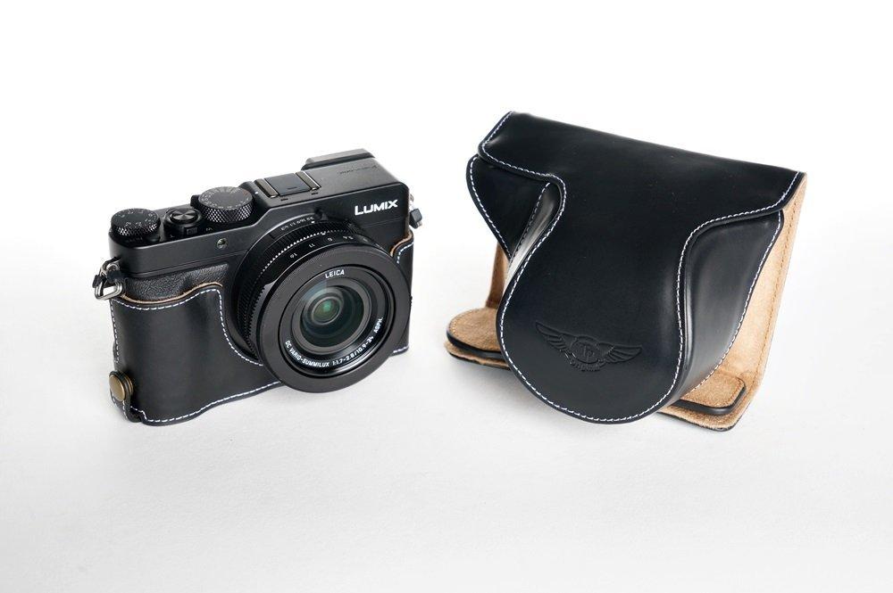 パナソニック LX100 用本革レンズカバー付カメラケース(電池,SDカード交換可) ブラック B07SQWG697 カメラケース&バッテリーケース FreeSize