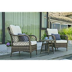 Garden and Outdoor N&V Wicker Patio Furniture Rattan Conversation Chairs Bistro Sets with Table & Cushions for Outdoor Indoor Use Porch… outdoor lounge furniture
