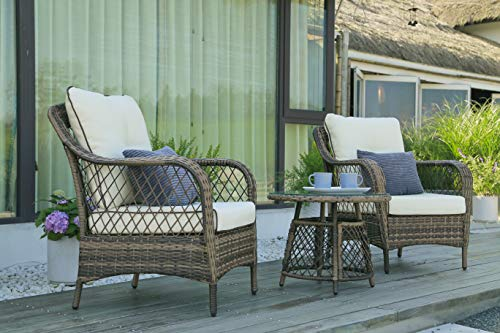 N&V Patio Outdoor Furniture Sets (3 Pieces) Wicker Chairs with Glass Coffee Table Pillows & Cushions Outdoor Indoor Use Porch Backyard Garden - 【Vintage & Stylish】The outdoor wicker chair set is made of hand woven PE rattan, which is unique in style, retro and stylish, adding a beautiful view to your house. The couch set also includes a rattan table with the gorgeous tempered glass top that perfectly highlights your patio. It is ideal for the living room, outdoor, courtyard, garden, porch, balcony, etc. 【Hand-woven Chairs】The patio chairs are hand-woven from rattan, tightly woven, very sturdy and durable. The beige brown mixed-colored rustic garden style chairs are perfect for patios or garden for leisure time with your family or friends. 【Thick & Comfortable】The seat and back cushions are made from high-end material, which is thick and soft, breathable and comfortable will not collapse for a long time using. It is a great housewarming gift your friends. - patio-furniture, patio-chairs, patio - 51JQnzGm5%2BL -