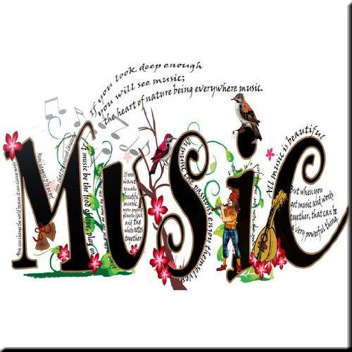 Rikki Knight Magical Musical Words Design Ceramic Art Tile 6 x 6