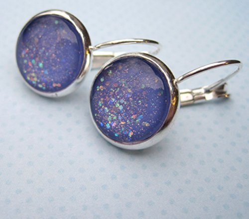 Silver-tone Periwinkle Purple Glitter Glass Lever-back Drop Galaxy Earrings Hand-painted