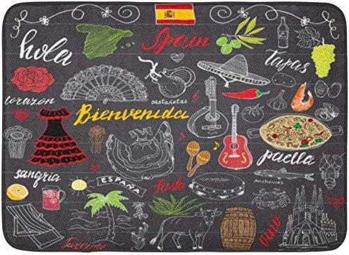 ECNM56B Alfombrillas Alfombras de baño Alfombrilla España Garabatos Letras españolas Comida Paella Camarones Aceituna UVA Abanico Barril de Vino Guitarras Instrumentos Musicales 15.8