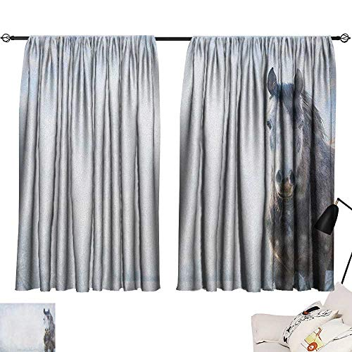 Josepsh Country Light Darkening Curtains Gray Horse on Winter Landscape with Snowfall in Wilderness Royal Animal in Nature Curtain Kids White Brown W108 x L72