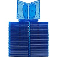 (30) Empty 21mm Thick 6 Disc Capacity - Blue Replacement Boxes / Cases for Blu-Ray DVD Movies - Holds 6 Discs BR6R21BL