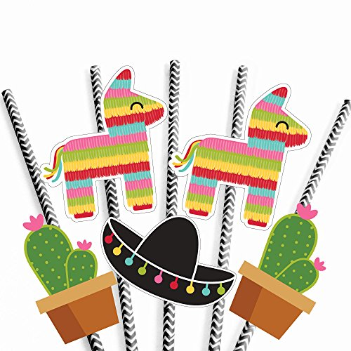 Let's Fiesta - Paper Straw Decor - Mexican Fiesta Party Striped Decorative Straws - Set of 24 (Donkey With Sombrero)