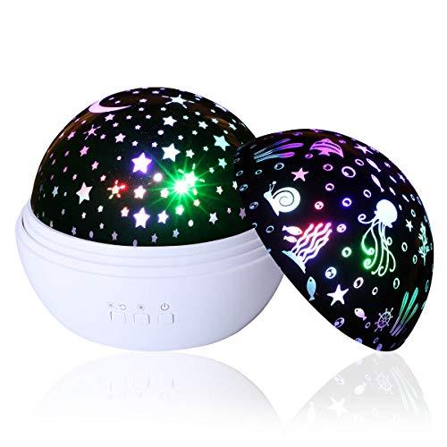 Star Night Light, Supertech Undersea World Star Night Light Projector Lamp,360 Rotating Color Changing Romantic Moon Night Light Projector for Christmas Halloween Birthday Party Kids Gift (White)