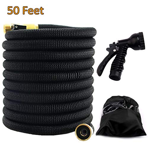 2018 Expandable Garden Hose 50ft - Best Water Hose with 3/4 Brass Connectors, 100% No Rust, Kinks or Leaks, Extra Strong Fabric - Outdoor Hose with 9-Way Spray Nozzle - Flexible Expanding Hose 50ft ()