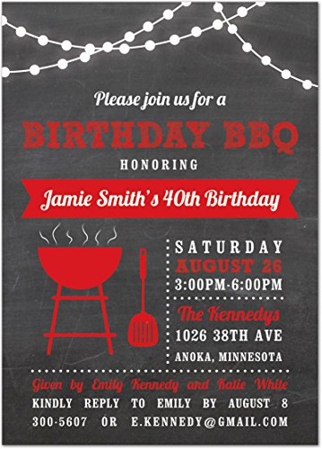 Red BBQ White Lights Spring Summer Barbeque Invitations