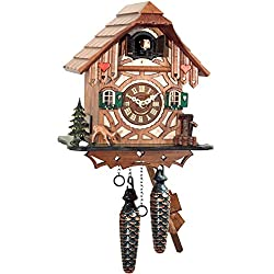 Alexander Taron Importer 413QM Engstler Battery-Operated Cuckoo Clock - Full Size - 9 H x 8.25 W x 6.25 D, Brown