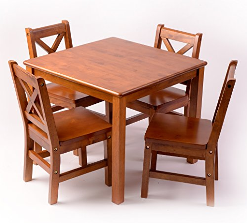 (eHemco Kids Table and 4 Chairs with X-Back Set Solid Hard Wood (Dark)