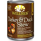 Wellness Thick & Chunky Grain Free Turkey & Duck Stew Natural Wet Canned Dog Food, 12.5-Ounce Can (Pack of 12)