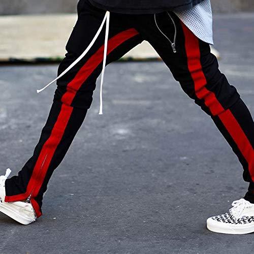 ALIKEEY-Pantalones De Rayas De Los Hombres es De Pantalón De Trabajo Casual De Bolsillo Casual Sport Sport Rojo