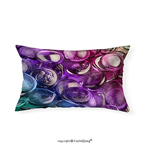 VROSELV Custom pillowcasesClose-Up of a Composition of Multicolored Glass Pebbles - Fabric Home - Hugh Jackman Glasses