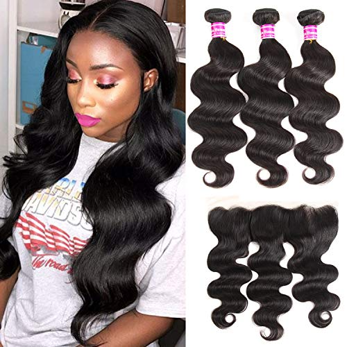 Onlyou Hair 10A Brazilian Virgin Hair Body Wave 3 Bundles With Frontal Closure Unprocessed Remy Human Hair Extensions with Lace Closure Natural Black Color 16 18 20 with 14 Frontal Closure