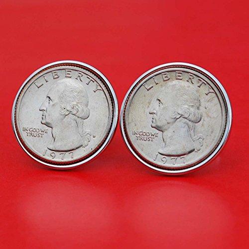 US 1977 Washington Quarter Dollar Gem BU Uncirculated Coin Cufflinks NEW ()