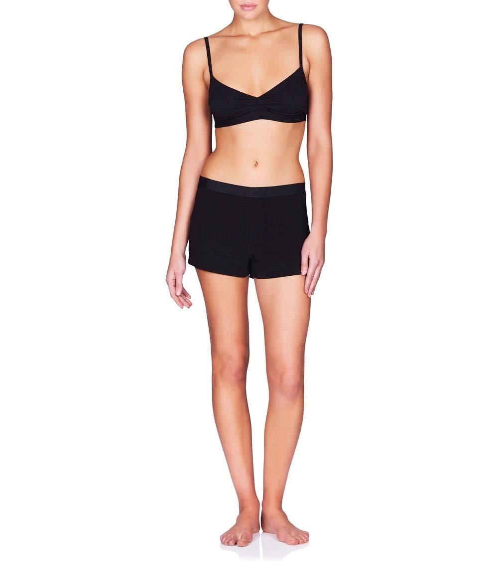 Naked Women's Perfect Sleep Shorts w/Elastic Waistband - Ladies Pima Cotton PJ Short - Black Perfect, Medium