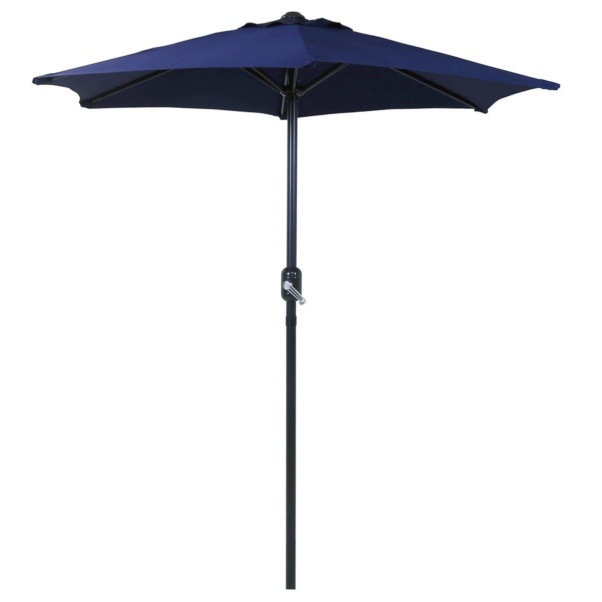Charles Bentley 2M Mercato Ombrello Parasole Patio Giardino Ombrellone con Crank Funzione - Blu