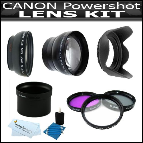 Exclusive HD Lens & Filter Set For Canon Powershot G12 G-12 G10 G11 G-10 Includes HD .45x Wide Angle Lens W/ Macro + 2X Telephoto Lens + 3 Piece Filter - Adapter Tube Lens Filter