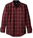 Pendleton Men's Long Sleeve Button Front Fitted Lodge Shirt, Grey/Red Check-31963, LG