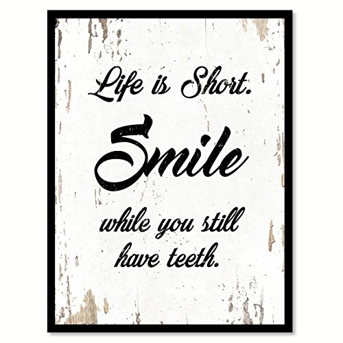SpotColorArt Life is Short Smile While You Still Have Teeth Handcrafted Canvas Print, 7