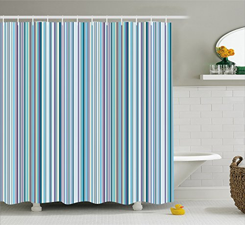 Striped Shower Curtain Set by Ambesonne, Blue Purple Teal Aqua Lavender Colored Vertical Stripes Geometric Abstract Vintage, Fabric Bathroom Decor with Hooks, 70 Inches, Light Blue