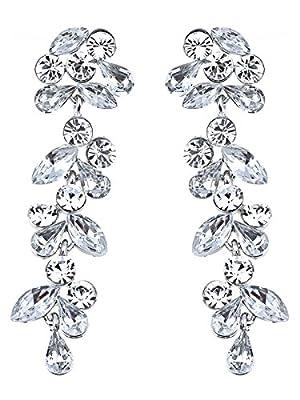 Alilang Bridal Swarovski Crystal Elements Flowers Leaves Earrings