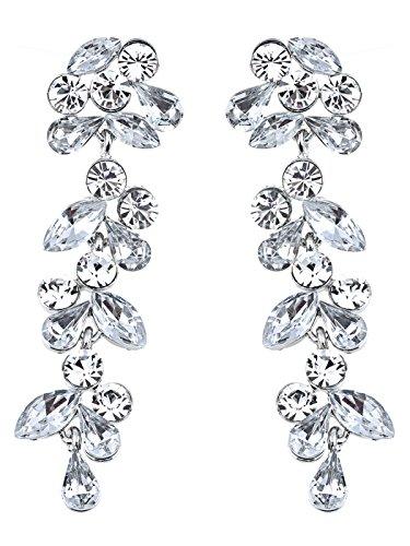 Alilang Silvery Tone Crystal Rhinestone Drop Leaf Earrings Wedding Special Occasion Bridal