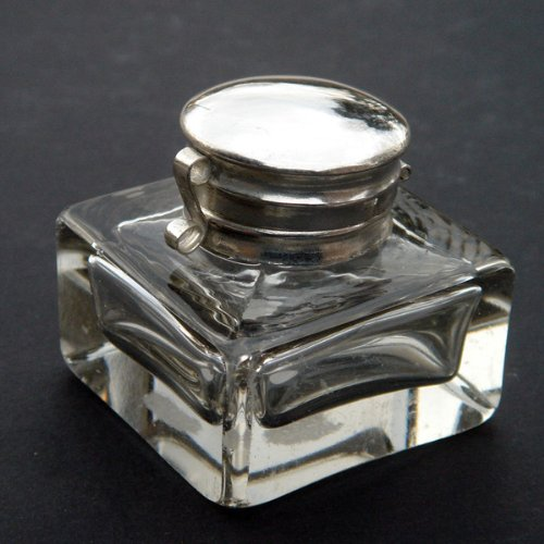 (Clear Glass Antique Style Inkwell Cut Glass Vintage Reproduction Ink Well)