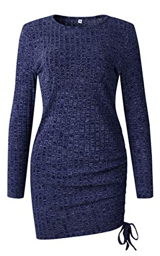 Women's Knit Blue Angashion Sleeve Long Sexy Mini Dress Party Drawstring Sweater Bodycon Club Ruched dqqOvntg