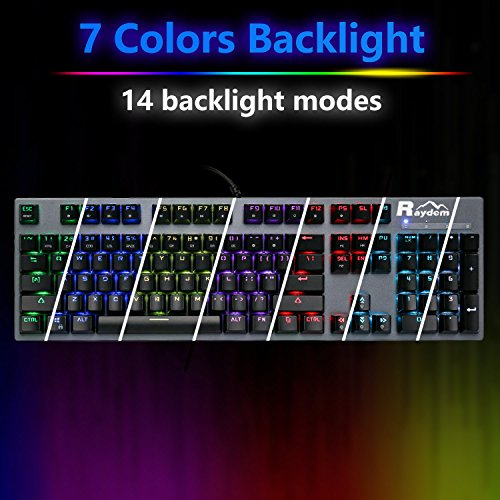 Raydem RGB Mechanical Keyboard with Blue Switches, 16.8 Million RGB Backlit Mechanical Gaming Keyboard with 14 LED Backlit Modes 104-key Anti-Ghost Aluminum Plate, Non-Fading UV Coating for PC & Mac by Raydem (Image #5)