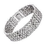 U7 Men Platinum Plated Link Bracelet Classic Curving Wrist Chain Solid Bangle (18MM Wide)
