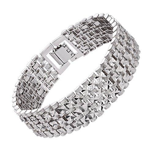 (U7 Men Platinum Plated Link Bracelet Classic Curving Wrist Chain Solid Bangle (18MM Wide))