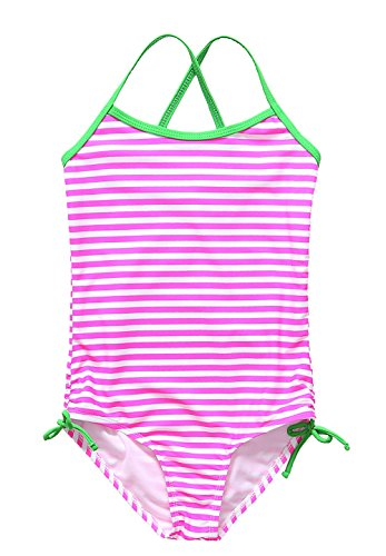 ALove Big Girl's Stripes One Piece Swimsuit Swimwear Pink 10-12 ()