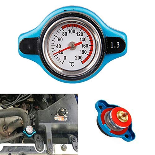DDV-US Universal 1.3 Bar Big Head Temperature Gauge with Utility Safe 1.3 bar Thermostatic Gauge Radiator Cap Tank Cover