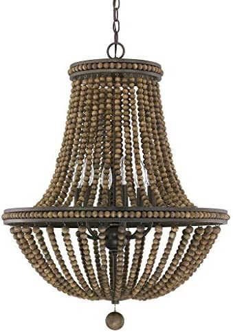 Austin Allen Co 9A121A Handley – Six Light Chandelier, Tobacco Stained Wood Beads Finish