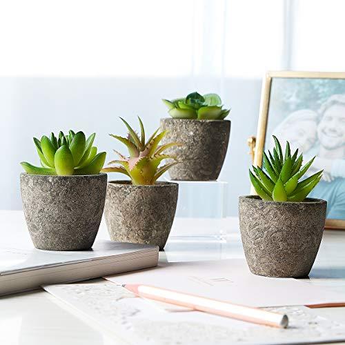 Succulent Faux Potted Plants - Set of 4 Artificial Decorative Flowers - Ultra-Realistic Design - Premium Quality Durable Plastic - Ideal for Office, Bedroom, Desk Shelves, Home - Easy Maintenance (Premium Home Decor)