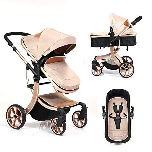 Cydoler High Landscape City Jogger Stroller Folding Umbrella Stroller Aluminum Alloy Lightweight Stroller w/Waterproof Rain Wind Cover Newborn Baby Carriage Toddler Stroller Single Bassinet Pushchair