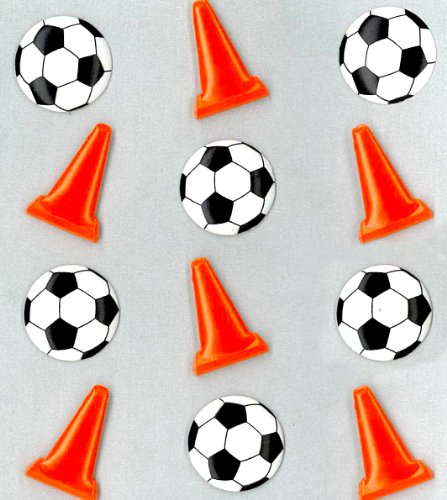 Jolee's Boutique Cabochons Dimensional Stickers, Soccer Balls and Cones