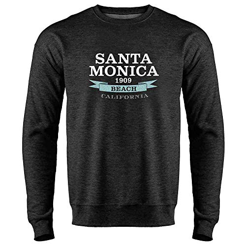 Pop Threads Santa Monica Beach Seal Heather Charcoal Gray L Mens Fleece Crew Sweatshirt ()