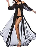 Vivilover Women's Chiffon Boho Off Shoulder Beach Dress Bathing Suit Cover up