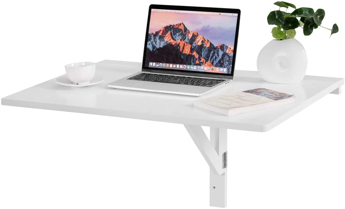 Amazon Com Tangkula 31 5 X 23 5 Wall Mounted Table Drop Leaf Wall Mounted Table Floating Table Space Saving Hanging Table For Study Bedroom Bathroom Or Balcony Folding Table White Kitchen Dining