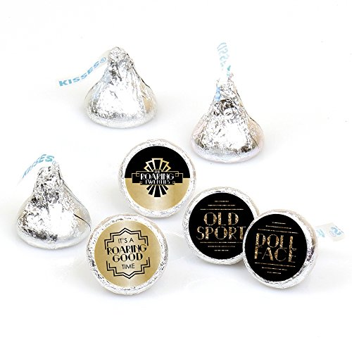 Roaring 20's - 1920s Art Deco Jazz Party Round Candy Sticker Favors - Labels Fit Hershey's Kisses (1 sheet of 108)