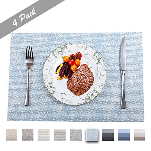 PREMIUM CARE Set of 4 Placemats for Table Heat-Resistant Skid-Proof Table Mats Dining Table Woven Stain Resistant Easy to Clean (Light Blue Placemats)