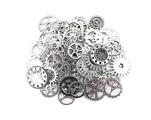 Antique Gears (CrazyPiercing 100 Gram Assorted Antique Steampunk Gears Charms Pandent Clock Watch Wheel Gear for Crafting, Jewelry Making Accessory (Silver))