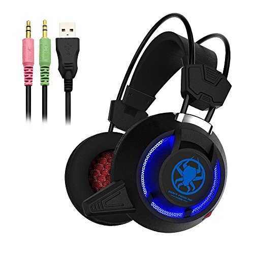 51JQsYEzTtL - Defway Gaming Headset for PC PS4 Xbox One Laptop Noise Cancelling Over Ear Headphones with Microphone and Volume Control Wired Stereo Earphones for Women Men with LED Light, USB, 3.5mm Jack